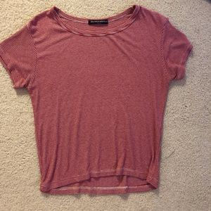 Brandy Melville Red and White Striped T-Shirt